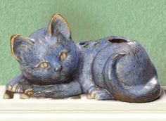 Heizungsverdunster Luftbefeuchter, Mini Katze Отопление испаритель увлажнителя Мини-кот Водяные испарители в серо-голубой Декоративное на каждом нагреве Длина 15 см, высота 8 см, ширина 7 см