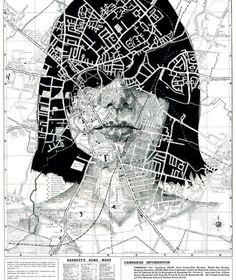 """""""凡人の目には地図は地図にしか見えないが、アーチストの目が見ると、違ったイメージが湧いてくるのかもしれない。  イギリスのイラストレーター、Ed Fairburnは、道路地図や地下鉄路線図のパターン化された色分けを巧みに利用し、人間の肌の複雑かつ断片化された質感を強調的に表現して"""""""