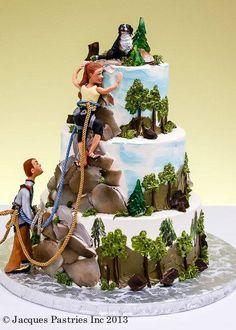 Risultati immagini per mountain cake design Themed Wedding Cakes, Themed Cakes, Wedding Cake Toppers, Unique Cakes, Creative Cakes, Beautiful Cakes, Amazing Cakes, Rock Climbing Cake, Mountain Cake