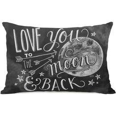 One Bella Casa Love You to the Moon and Back Polyester Lumbar Pillow (50 AUD) ❤ liked on Polyvore featuring home, home decor, throw pillows, pillows, decor, other, moon, black and white accent pillows, moon home decor and black and white throw pillows