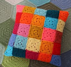 Modern cubes crochet pillow sham / crochet pillow cover / bright and happy geometric cushion
