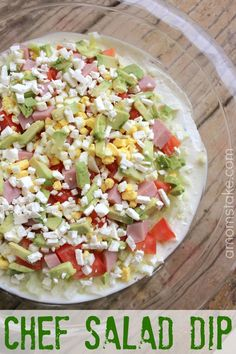 Easy and delicious - mix up a chef salad dip recipe. This is a perfect, healthy appetizer or party food recipe.