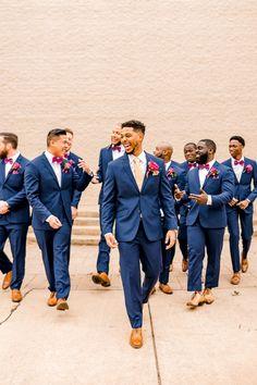 Blue Wedding Suits Blue Wedding Suits<br> blue suits for groom and groomsmen Blue Wedding Suit Groom, Blue Groomsmen Suits, Navy Blue And Gold Wedding, Groom And Groomsmen Attire, Bridesmaids And Groomsmen, Wedding Men, Wedding Attire, Mismatched Groomsmen, Wedding Ideas