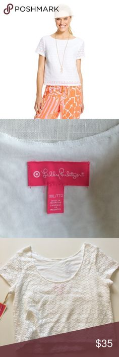 NEW Lilly Pulitzer Eyelet Crochet Crop Plus Brand: Lilly Pulitzer for Target    Condition: Brand new with tags (stored in brand new plastic bin since original purchase)    Color: White    Size: XXL    Price is firm. Lilly Pulitzer for Target Tops Crop Tops