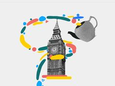 Big Ben colors rough animator collage grey gif animation liquid shapes tea big b… Animation Reference, Art Reference, After Effects, Stop Motion, Motion Design, Collage Illustration, Animated Gif, Illustrators, Character Design