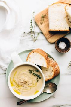 Roasted garlic infuses this creamy, pureéd soup with rich flavors and makes it a great cold weather meal.