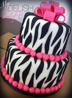 Zebra Cake with blue and green