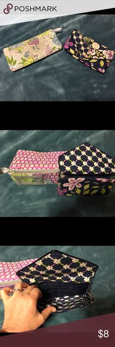 2 Vera Bradley wallets Get both of these pre-loved retired Vera Bradley wallets in very good condition right now while they last for 8 Vera Bradley Bags Clutches & Wristlets