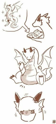 Dragon, comic, funny, cute; Kawaii
