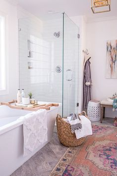 Beautiful bathroom design with clear glass shower doors