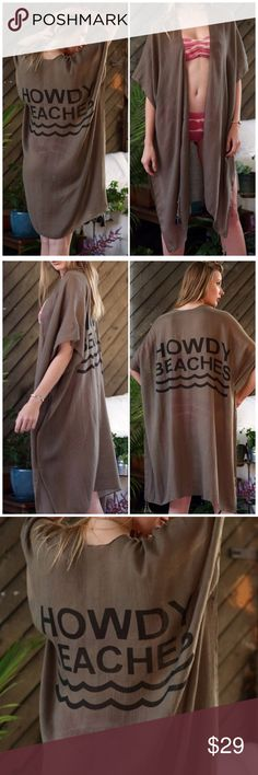 """Howdy Beaches Olive Kimono Cover Up Howdy Beaches Olive Kimono Cover Up. 100% Viscose. Measurements 35"""" X 37"""". One size fits most Fabfindz Swim Coverups"""