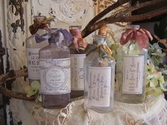 Vintage French bottles with silk ribbons