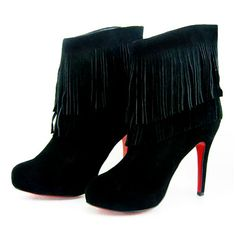 Christian Louboutin Mesdames Fringe Ankle Boots Black