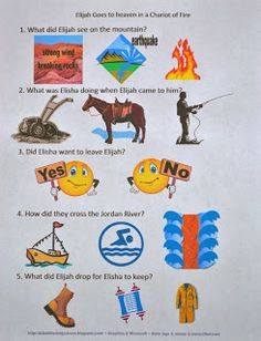This post has the second part of the Old Testament Bible people worksheets to make it easier to find them. Included are: Elijah & Elisha,. Bible Study Crafts, Bible Activities For Kids, Bible For Kids, Fire Bible, Children's Bible, Elijah Bible, Fire Crafts, Old Testament Bible, Kids Klub