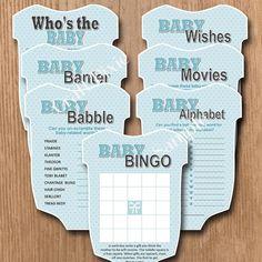 Baby Shower Games Bundle 1 Boy - Blue Teal Vest - Instant PDF Download Printable File - Baby Shower BIrth Pregnancy Party