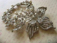 Flora Swarovski rhinestone crystal and ivory by weddingvalle