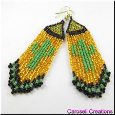 Deserted Cactus Beaded Dangle Earrings TAGS - Jewelry, Earrings, Beaded, shoulder dusters, carosell creations, dangle, chandelier, brick stitch, glass, seed beads, weaved, woven, orange, green, summer, desert, pierced, accessories, off loom, cactus, texas, arizona, hot, holiday gift idea, women, native american indian, southwestern