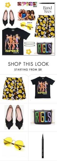 """Band T-shirts"" by arohii ❤ liked on Polyvore featuring Boohoo, Bobbi Brown Cosmetics, SpiceGirls, bandtees and 90sstyle"
