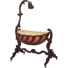 *Rococo Victorian mahogany swinging cradle on stand. it has a a beautiful elegant curved frame w/extensive floral carvings. There is a top pediment at one end + brass hook at the other that would have supported a valence + held a draped veil, c. Victorian Furniture, Vintage Furniture, Vintage Couches, Baby Furniture, Unique Furniture, Victorian Homes, Victorian Era, Muebles Estilo Art Nouveau, Art Nouveau Furniture