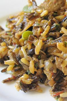 Delicious wild rice with mushrooms. I switched the wild mushrooms to white and added parmesan at the end.