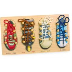 Wooden Learn to Tie Shoelaces Shoe Laces Learning Activity Educational Kids Tie Shoelaces, Football Shoes, Busy Bags, Tie Shoes, Sneaker Boots, Miller Sandal, Fine Motor Skills, Beaded Lace, Toddler Toys