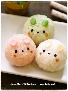 日本人のごはん/お弁当 Japanese meals/Bento 兎3おむすび 3rabbits rice ball