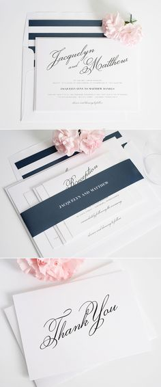 Vintage navy and white wedding invitations from Shine Wedding Invitations. http://www.shineweddinginvitations.com/wedding-invitations/vintage-romance-wedding-invitations