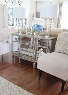 Need help dividing an open concept kitchen and living room? Here are some ideas for cute console tables and chairs. Interior Design Inspiration, Decor Interior Design, Interior Decorating, Cool Chairs, Table And Chairs, Best Chairs Glider, Kitchen Sitting Areas, French Cottage Style, Blogger Home