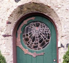 Spiderweb stained glass door