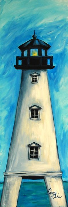 Easy lighthouse painting with pretty blue sky. Beginner canvas painting.