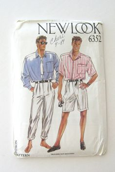 1980s Mens Shirt Pattern New Look 6352 Short or by QuiltCitySue