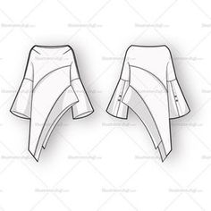 Fashion Illustration Patterns Women's Vector Flats For Fashion Design - Women's Asymmetrical Blouse Fashion Flat Template
