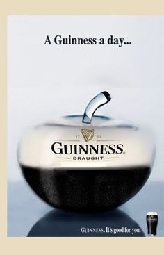A Guinness a day. Premium Beer, Dark Beer, Birthday For Him, Beer Humor, Luck Of The Irish, Best Beer, Beer Lovers, Print Ads, Advertising