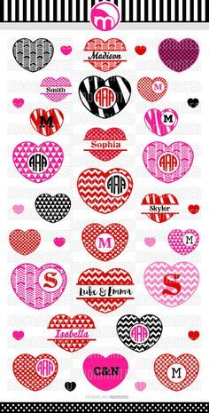 Valentine's Day Hearts 2 SVG Cut Files Monogram by MoonMinted