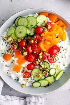 This Savory Cottage Cheese Bowl topped with veggies and pistachios is a protein-packed breakfast that will keep you full all morning. #protein #highprotein #breakfast #healthybreakfast Cottage Cheese Breakfast, Cottage Cheese Recipes, High Protein Breakfast, Breakfast Bowls, Breakfast Recipes, Clean Breakfast, Breakfast Ideas, Vegetarian Recipes, Cooking Recipes