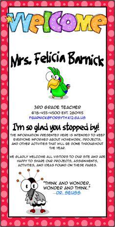 Mrs. Felicia Barnick's Webpage is updated weekly