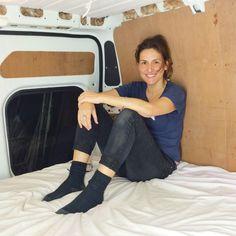 Inside Nikki Loy's self build camper van. More info and details at nikkiloy.com