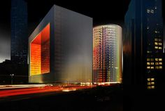 Porsche Design Towers: offices + residential development in Dubai, UAE - design by OMA, architects - Porsche Design Towers, Dubai building, UAE office property Dubai Buildings, Unique Buildings, Beautiful Buildings, Office Building Architecture, Light Architecture, Tower Design, The Two Towers, Building Structure, Porsche Design