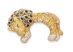 Rare Multi-gem, Diamond and Colored Diamond 'Lion' Flip Brooch, Rene Boivin