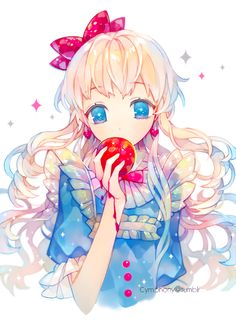 """Hmmm?"" I ask as I bite into the red fruit, it's juice dripping down my hand and arm. ""Say something?"" I question, my mouth still full and red stickey juice stains my blue dress.   (Role play please?)"