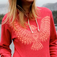 Red Kingfisher Pullover Hoodie by pinastyles on Etsy, $79.00 www.pinastyles.com