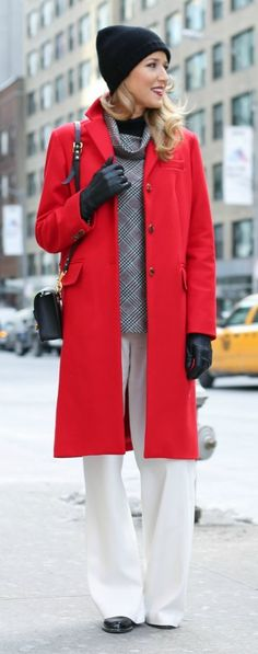 long red wool coat, ivory/off-white flowy wide leg pants, plaid cowl neck turtleneck top, black knit beanie, oxford flats, leather gloves + sophie hulme chain shoulder bag {fashion week street style - mary orton}