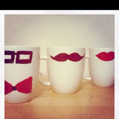 DIY mugs for Jeffrey and my friend Kiki!! Just have to bake them!
