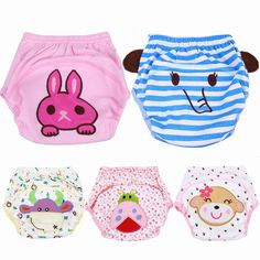 5pcs/Lot 2017 NEW ! Baby Diapers Children Reusable Underwear Breathable Diaper Cover Cotton Training Pants