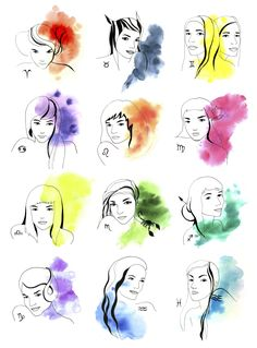 Watercolor zodiac girls ★