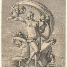 Venus door de wind meegevoerd op haar schelp op zee, Antoine Bonenfant, 1590 - 1633 - Rijksmuseum