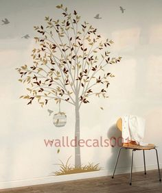 Kids Wall Decals Wall  stickers Tree and Birds Decals- tree,birds,birds case,grass. $68.00, via Etsy.