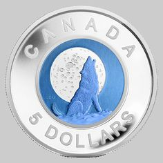Sterling Silver and Niobium Coin - Lune du loup 2012 Canadian Things, I Am Canadian, Canadian History, Argent Sterling, Sterling Silver, Numismatic Coins, Coins For Sale, Wolf Moon, True North