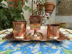 Antique French Art Nouveau Copper Table by AngelFrenchAntiques