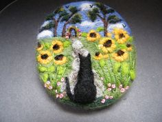 Handmade needle felted brooch 'Scaredy in the Sunflower Garden' by Tracey Dunn